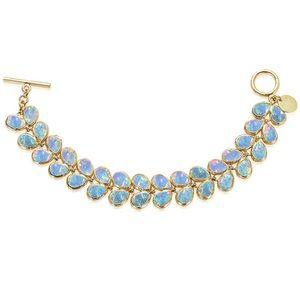 Rare Melinda Maria Leaf Bracelet in gold/blue opal
